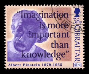 Einstein Postage Stamp - Imagination is more important than knowledge