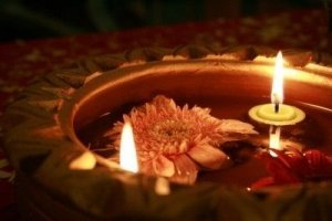 Diwali: Lotus Flower in a Floating Dish with Candles - Awakening Alchemy