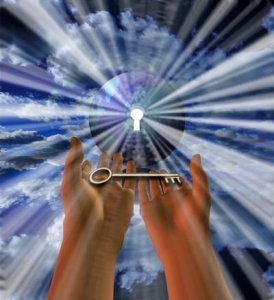 Two Hands Hold Key in Front of Keyhole With Sunlight Streaming Through - Awakening Alchemy