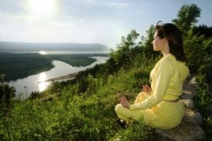 Girl Meditates in Nature: Rivers nad Mountains - Awakening Alchemy