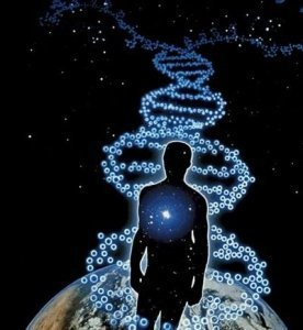 Silhouette of a man walking on stars in the pattern of human DNA - Awakening Alchemy
