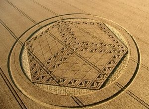Geometrically Designed Crop Circle in Wheat: Cube - Awakening Alchemy