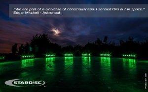 StarDisdc at Night Lit up by Solar lights - Awakening Alchemy