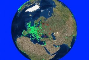 Earth With Green Lights Showing Radio Stations - Awakening Alchemy