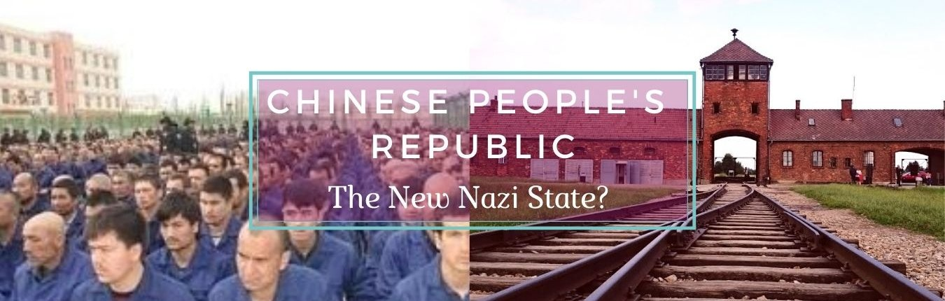 China Banner - Reeducation Camp inmates constrated with Entrance to Auschwitz - Awakening Alchemy