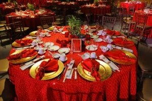 Red Cloth Chinese Banquet Table Setting - All in Red and Gold - Awakening Alchemy