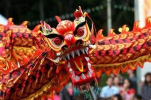 Red and Gold Chinese Dragon Facing Camera with mouth open, roaring - Awakening Alchemy