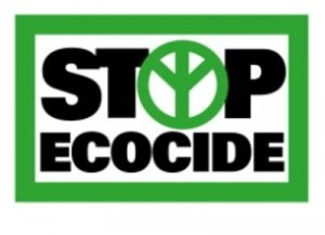 Stop Ecocide Loge - Black on Green with Inverted Peace Sign - Awakening Alchemy