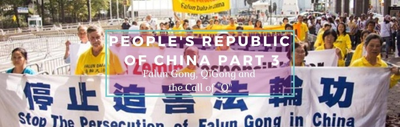 Falun Gong Banner - Falun Gong Protrstors Marching with large Banner - Awakening Alchemy