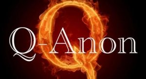 A Q-Anon Poster - A Flaming Q in the Background - Awakening Alchemy