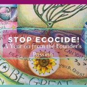 Stop Ecocide Banner - Painting by Jaine Rose Abstract - Awakening Alchemy