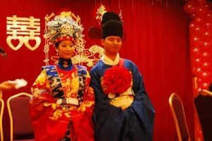 Tradiotional Chinese Costumed Wedding - Bride in Red and Groom in Blue - Awakening Alchemy