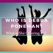 Debra Poneman Banner: Photo of Debras plus two people jumping for joy sillhoueted in a sunset - Awakening Alchemy