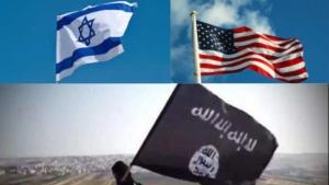 Awakening Alchemy - Composite Photo 3 Flags - Israeli, U.S. & Daesh