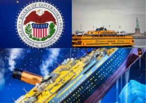 Awakening Alchemy - Composite - Federal Reserve Seal, Staten Island Ferry - Titanic