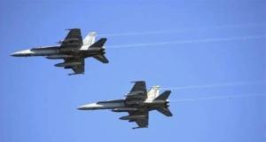 Awakening Alchemy 2 Majestic f-18's in Flight against a blue sky