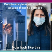 Awakening Alchemy - Composite Picture - The Wall - Twin Towers Collapse and Woman Wearing a Mask - Eagle on Gold Cross