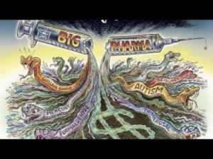 Awakening alchemy - Cartoon of Big Pharma Injecting the World with Disease and Misery