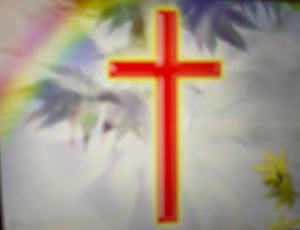 Golden Chritian /Cross on background of Stained-Glass Window