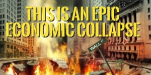 Awakening Alchemy - Mockup of Wall St on Fire and Title - It's An Epic Economic Collapse
