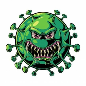 Awakening Alchemy - Cartoon of an Evil Green Virus About to Attack - Teeth Bared