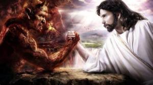 Awakening Alchemy - Artist's Representation of an Arm-Wrestle Between Jesus and the Devil