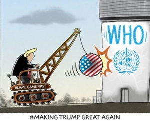 Awakening Alchemy - Cartoon Donald Trump Knocking Down the WHO Silo with a Wrecking Ball and Crane